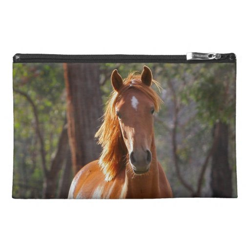 Beautiful chestnut horse photo portrait, gift travel accessory bag