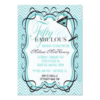 Beautiful Chevron fifty and fabulous Invitations