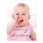 Beautiful Chic Baby Photo Merry Christmas Postcard