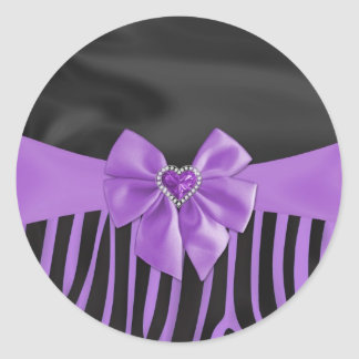 Beautiful chic elegant silk fabric effects zebra classic round sticker