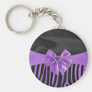 Beautiful chic elegant silk fabric effects zebra keychain