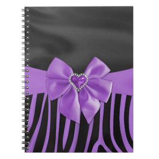 Beautiful chic elegant silk fabric effects zebra notebook