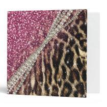 Beautiful chic girly leopard animal faux fur print 3 ring binder