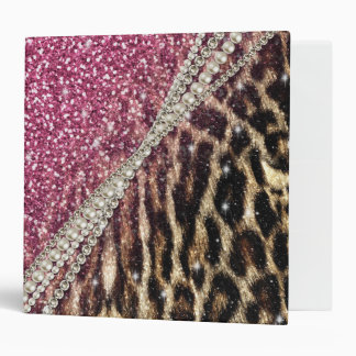 Beautiful chic girly leopard animal faux fur print 3 ring binder
