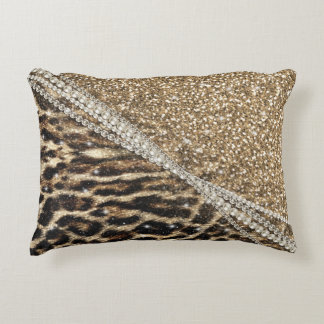 Beautiful chic girly leopard animal faux fur print accent pillow