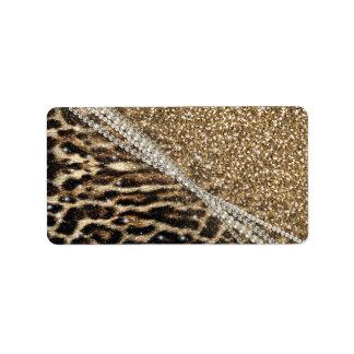 Beautiful chic girly leopard animal faux fur print address label