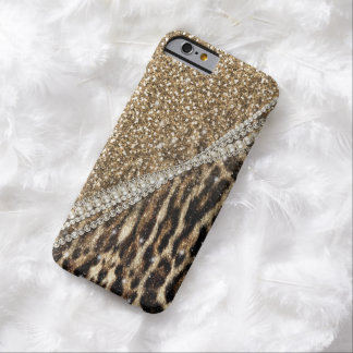 Beautiful chic girly leopard animal faux fur print barely there iPhone 6 case
