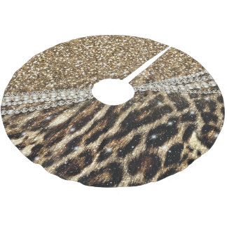 Beautiful chic girly leopard animal faux fur print brushed polyester tree skirt