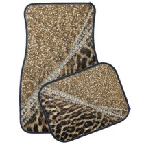 Beautiful chic girly leopard animal faux fur print car floor mat