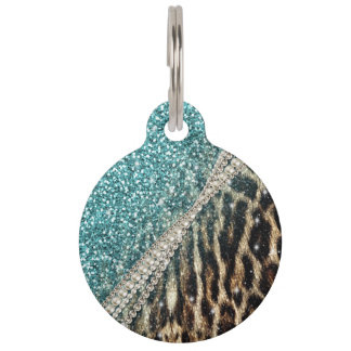 Beautiful chic girly leopard animal faux fur print pet name tags