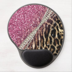 Beautiful chic girly leopard animal faux fur print gel mouse pad at Zazzle