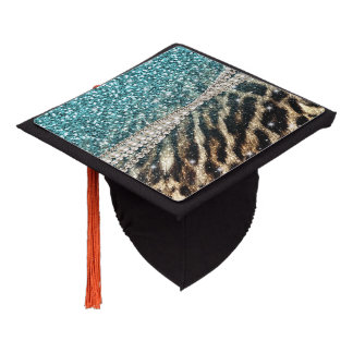 Beautiful chic girly leopard animal faux fur print graduation cap topper
