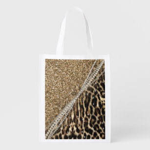 9508913861f9 Beautiful chic girly leopard animal faux fur print grocery bag