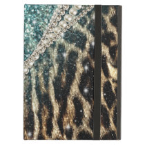 Beautiful chic girly leopard animal faux fur print iPad air cases