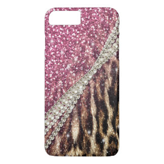 Beautiful chic girly leopard animal faux fur print iPhone 7 plus case