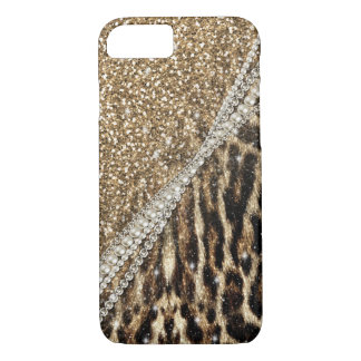 Beautiful chic girly leopard animal faux fur print iPhone 8/7 case