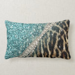 "Beautiful chic girly leopard animal faux fur print lumbar pillow<br><div class=""desc"">Beautiful chic girly leopard animal faux fur print blue glitter pattern, Leopard, cheetah, cat, wild faux fur animal prints, silver shinning glowing glitter shower effects, white pearls, white gemstones image. Teal, light blue, aqua green, white, grey, brown, black, cream, colours, glowing, trendy, fashion, modern, artistic, stylish, pretty, feminine, love, glamorous,...</div>"