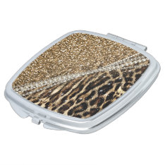 Beautiful Chic Girly Leopard Animal Faux Fur Print Makeup Mirror at Zazzle