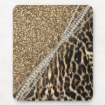 """Beautiful chic girly leopard animal faux fur print mouse pad<br><div class=""""desc"""">Beautiful chic girly leopard animal faux fur print glitter pattern, Leopard, cheetah, cat, wild faux fur animal prints, silver shinning glowing glitter shower effects, white pearls, white gemstones image. Yellow gold, white, grey, brown, black, cream, colours, glowing, trendy, fashion, modern, artistic, stylish, pretty, feminine, love, glamorous, glam, cute, adorable, animal...</div>"""
