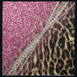 "Beautiful chic girly leopard animal faux fur print napkin<br><div class=""desc"">Beautiful chic girly leopard animal faux fur print pink glitter pattern, Leopard, cheetah, cat, wild faux fur animal prints, silver shinning glowing glitter shower effects, white pearls, white gemstones image. Hot pink, bubblegum pink, white, grey, brown, black, cream, colours, glowing, trendy, fashion, modern, artistic, stylish, pretty, feminine, love, glamorous, glam,...</div>"