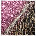Beautiful chic girly leopard animal faux fur print napkin<br><div class='desc'>Beautiful chic girly leopard animal faux fur print pink glitter pattern, Leopard, cheetah, cat, wild faux fur animal prints, silver shinning glowing glitter shower effects, white pearls, white gemstones image. Hot pink, bubblegum pink, white, grey, brown, black, cream, colours, glowing, trendy, fashion, modern, artistic, stylish, pretty, feminine, love, glamorous, glam,...</div>
