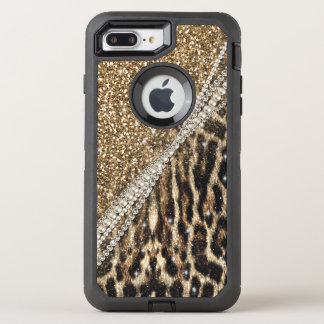 Beautiful chic girly leopard animal faux fur print OtterBox defender iPhone 7 plus case