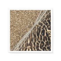 Beautiful chic girly leopard animal faux fur print paper napkin