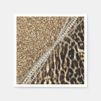 Beautiful chic girly leopard animal faux fur print paper napkin
