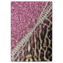 Beautiful chic girly leopard animal faux fur print post-it notes