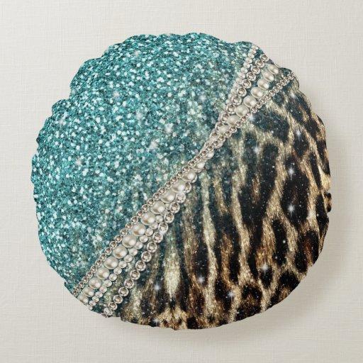 Beautiful chic girly leopard animal faux fur print round pillow Zazzle