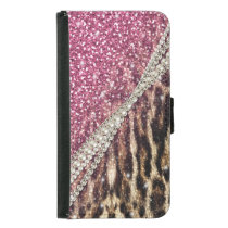 Beautiful chic girly leopard animal faux fur print samsung galaxy s5 wallet case