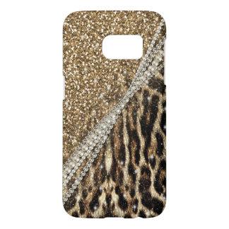 Beautiful chic girly leopard animal faux fur print samsung galaxy s7 case