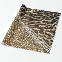 Beautiful chic girly leopard animal faux fur print wrapping paper