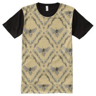 Beautiful Chic Hand-Drawn Bee Pattern All-Over-Print Shirt