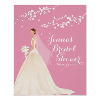 Beautiful Chic Pink Bride Bridal Shower Poster