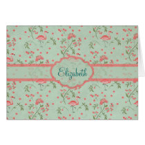 Beautiful chic vintage spring floral and flamingo card