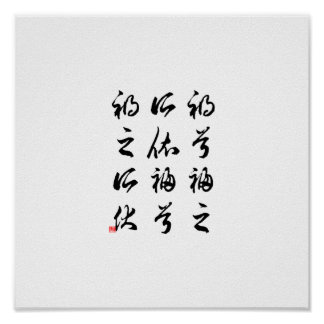 Beautiful Chinese Calligraphy -happness&misfortune Poster
