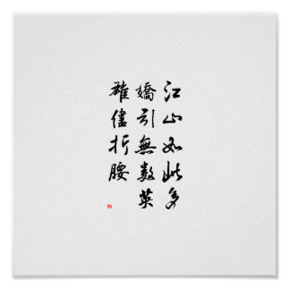 Beautiful Chinese Calligraphy -land rich in beauty Poster