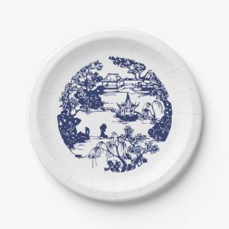 Beautiful Chinese Pagoda Landscape Paper Plate