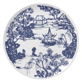 Beautiful Chinese Pagoda Landscape Plate