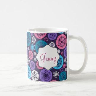 Beautiful Chistmas balls and Snowflakes on purple Coffee Mug