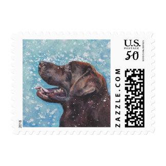 Beautiful Chocolate Lab Labrador Retriever Art Postage
