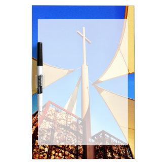 Beautiful Christian Church Cross Blue Sky Dry-Erase Whiteboard