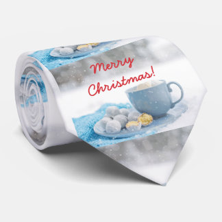 Beautiful Christmas atmosphere with hot chocolate Neck Tie
