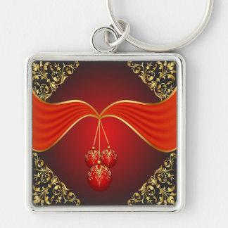 Beautiful Christmas Balls with Ornamental Corners Keychain