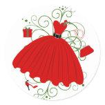 Beautiful, Christmas Dress Classic Round Sticker