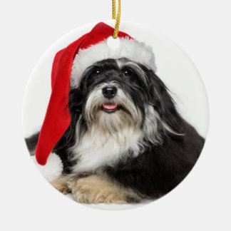 Beautiful Christmas Havanese Dog With Santa Hat Ceramic Ornament