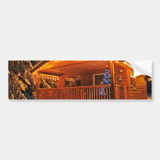 Beautiful Christmas Lights on Log Cabin in Snow Bumper Sticker