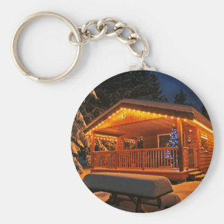 Beautiful Christmas Lights on Log Cabin in Snow Keychain