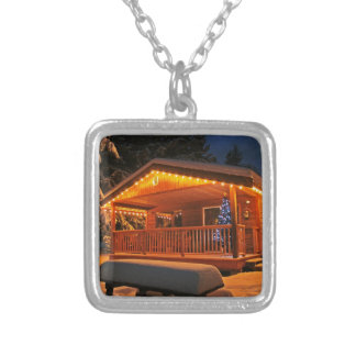 Beautiful Christmas Lights on Log Cabin in Snow Necklace